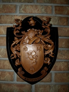 The Sheridan Family Crest carved from Mahogany with a clear urethane finish