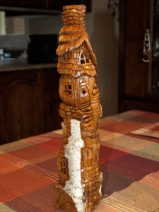 """The Cottonwood Mill"" carved from Cottonwood Bark and finished in clear satin urethane."