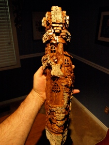 """Castle Cottonwood"" carved from Cottonwood Bark and finished in clear urethane."